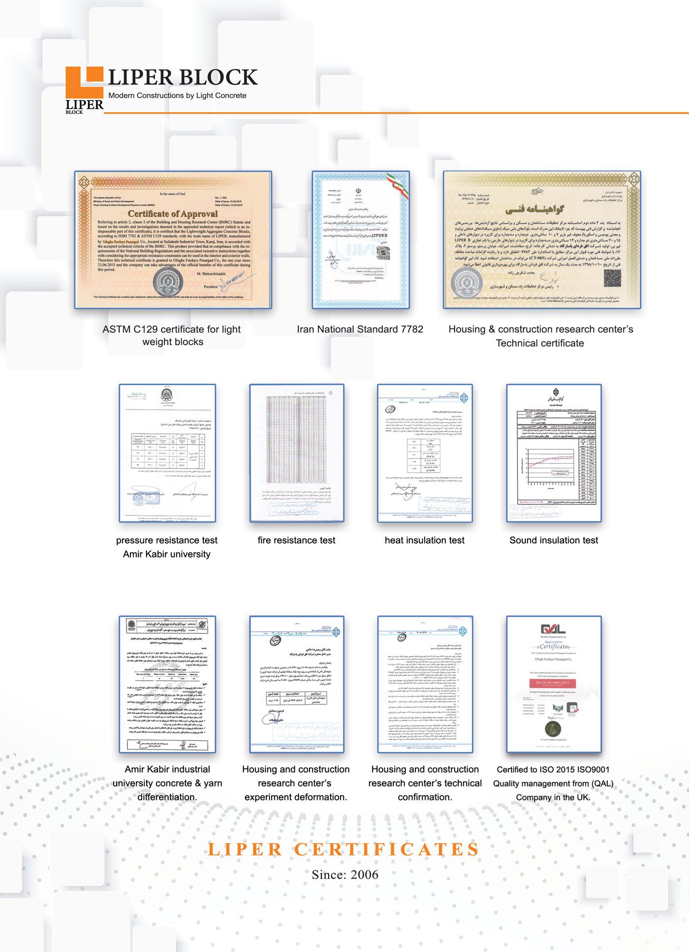 گواهینامه های بلوک سبک لیپر